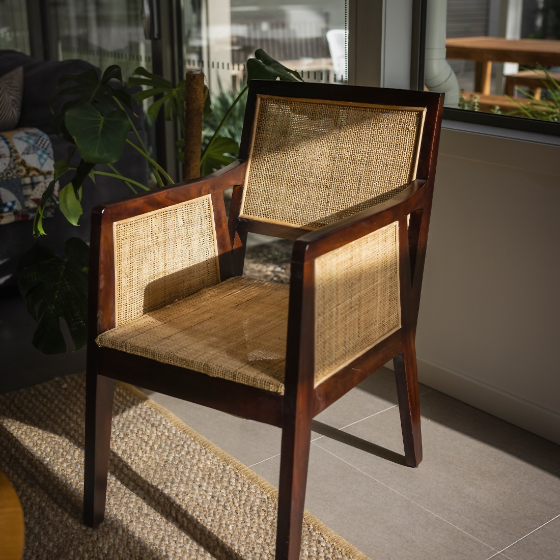 A chair displayed in the sun.